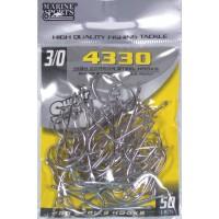 Anzol Marine Sports 4330 Nickel - Tamanho 3/0 - cartela c/ 50