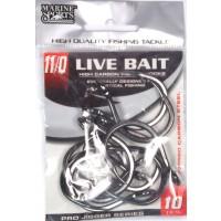 Anzol Marine Sports LIVE BAIT HOOKS - Tamanho 11/0 - cartela c/ 10