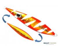 Isca artificial metal Jig Sea Fishing modelo Guild 200g cor Laranja - Glow