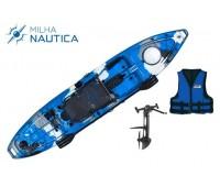 Caiaque Milha Náutica Hook Camuflado Azul c/ Pedal + Colete