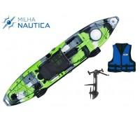 Caiaque Milha Náutica Hook Camuflado Verde c/ Pedal + Colete