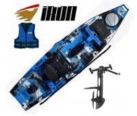 Lançamento! Caiaque Milha Náutica Iron C/ Power Drive cor Camu Azul + Colete Brinde - PRONTA ENTREGA!