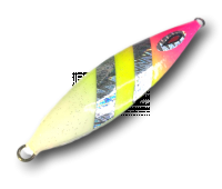 Isca artificial metal Jig Yamatto modelo Kisu 60g cor Rosa/Limão - Glow