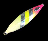 Isca artificial metal Jig Yamatto modelo Kisu 200g cor Rosa/Limão - Glow