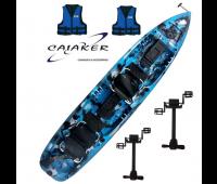 Caiaque Caiaker Mero Duplo C/ 02 Smart Pedal - Cor Camuflado Azul + 02 coletes - Pronta Entrega!!
