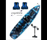 Caiaque Caiaker Mero Duplo - Cor Camuflado Verde + 01 Smart Pedal + 2 Coletes  - Pronta Entrega!