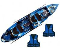 Caiaque Caiaker New Foca Standard - Cor Camuflado Azul + 2 Coletes