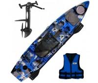 Caiaque Milha Náutica Thork C/ Pedal Camuflado Azul +Colete Brinde - Pronta Entrega!