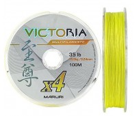 Linha multifilamento Maruri Victoria 4x 0,24 mm - 35lbs - 100 m - Amarelo